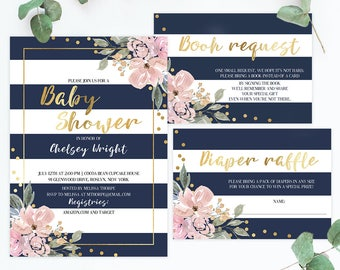 Stripes and Floral Baby Shower Invitation Set Template Download Navy Pink Gold, Navy and White Invitation Digital Download Gold Confetti GF1