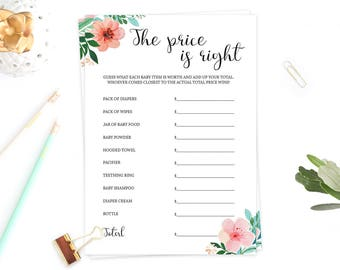 Floral Games Baby Shower Price is Right Baby Shower Game Floral Baby Shower Games Printable The Price is Right Game Fun Baby Shower Game FG1