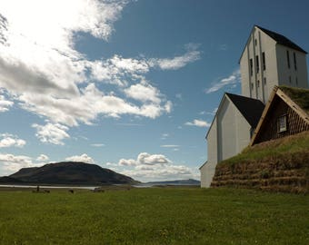 "Iceland, Church, Landscape, Photo, Print 12"" x 10"", Countryside"