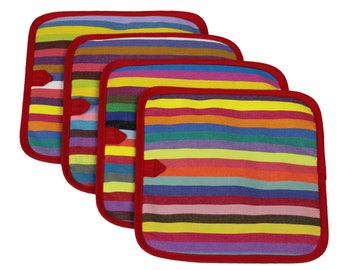 Colorful striped potholder - artisan French cotton