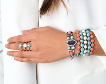 Bead + Chain Multi-Wrap Bracelet