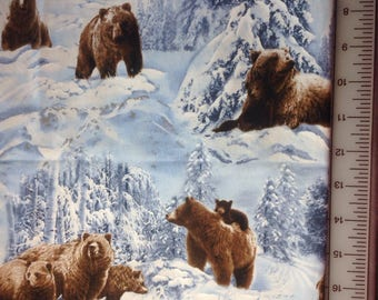 Brown Bear and Snow Fabric / 100% Cotton / Shamash and Sons / Light Blue / 1/2 yard