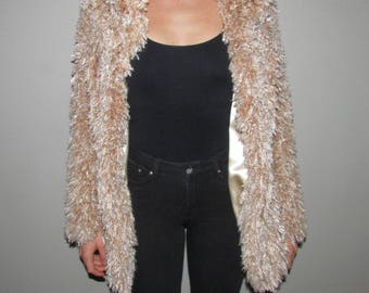 Beige/light brown faux-fur look jacket
