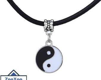 Vintage Necklace with Stainless Steel Yin Yang Pendant