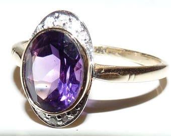 Vintage Inspired Amethyst & Diamond Ring