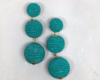 Handmade Beaded Bon Bon Ball Drop Earrings