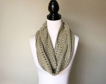 Ready to ship - Handmade Crochet Pima Cotton Infinity Scarf in Platinum