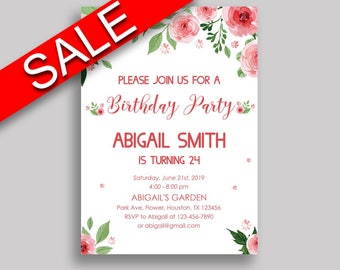 Watercolor Flowers Birthday Invitation Watercolor Flowers Birthday Party Invitation Watercolor Flowers Birthday Party Watercolor SLEPQ