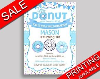 Donut Birthday Invitation Donut Birthday Party Invitation Donut Birthday Party Donut Invitation Boy downloadable doughnut printable 4X9CJ
