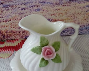 Little milk jug, vintage ceramic milk jug, vintage milk jug, white milk jug