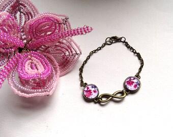 Bracelet flowers fuschia symbol infinity bronze - gift idea for woman