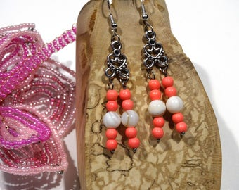Coral earrings (howlite) and natural Pearl - silver pendant - gift idea for woman