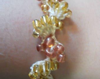 Gold and Rose Gold Crochet Bracelet
