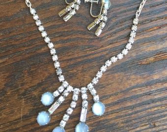 Vintage Leo Glass Rhinestone and Moonstone Necklace and Screw Back Earrings Set