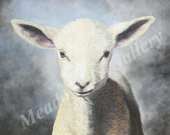 Little Lamb, Acrylic Painting, Original Artwork, Realistic, Realism, lamb, sheep