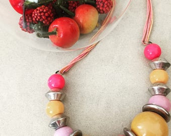 orange and pink summer necklace