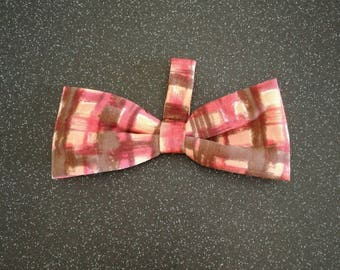 Pet collar bow tie in brown/pink/cream