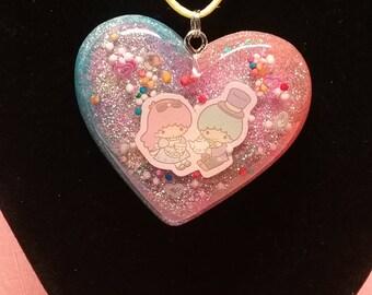 Little Twin Stars Alice In Wonderland Resin Heart Necklace