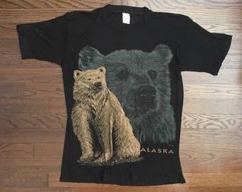 Vintage ALASKA Bear T-shirt So Thin Black Size S-M