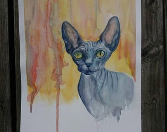 Blue Sphynx Cat Original Watercolor Painting 9 x 12 animal artwork
