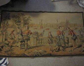 "Antique Tapestry  Venice Scene  48"" x 25""    Made in France"
