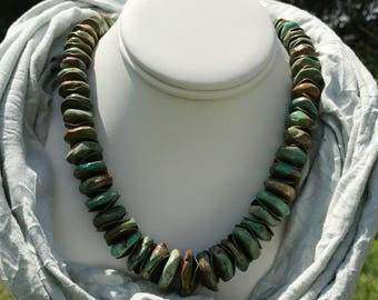 Chunky Turquoise Necklace With Bronze Spacers