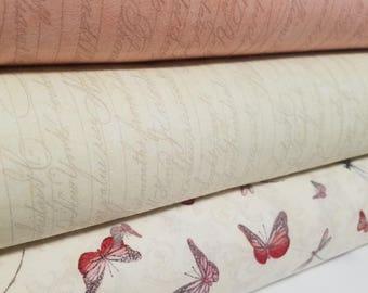 La Vie En Rose Fabric Bundle, Choose Your Cut, Quilting Treasures ( 3 Fabrics)