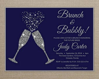 Brunch and Bubbly Bridal Shower Invitation, Brunch and Bubbly Invitation, Brunch and Bubbly Bridal Shower Invitation Navy