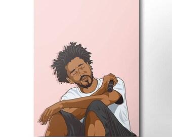 J Cole Canvas / wall art / wall decor / rap canvas / hip hop / rap artist / dope art / music canvas / rapper / home decor