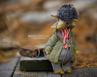 A melancholic wolf...teddy bear, teddy artist, vintage style, crazy, textile art, soft sculpture, stuffed