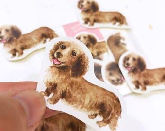 Puppy Series Sticker [Best Friends]-Watercolor,illustrations,Dog lover gifts,Sticker,Dachshund,cute Stickers,Handmade Sticker,Laptop Sticker