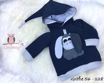 Baby shirt blue & grey - girl young sweater animals application - sweat long sleeves shirt pointy Hat - handmade children's clothing - child