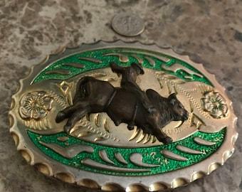 Vintage Bull Rider Belt Buckle