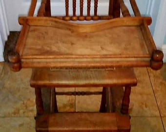 Antique Oak Baby Highchair & Stroller
