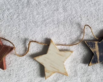 Rustic Star Garland  Red White Blue  Home Decor  Repurposed Materials