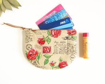 Coin Pouch, Round Coin Purse,  Pouch, Womens Mini Wallet, Credit Card Case, Small Zip Wallet, Fabric Purse, Coin Purse