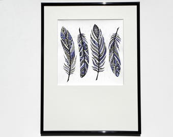 """Original painting, mixed media Gouache/watercolor, """"Feathers"""" with frame and frame included past"""
