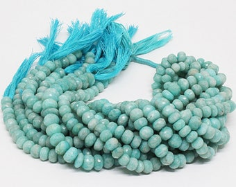 SALE!! High Quality Genuine Amazonite 8-9mm /Rondelle Faceted Amazonite Beads / Strand 10 inch long / Semi Precious Gemstone Beads