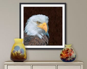 Digital painting, Eagle, digital download and print on canvas or paper art