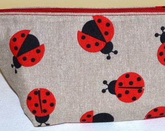 """lined pouch Tote designs """"Ladybug"""""""