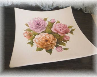 """""""My rose garden"""" shabby decorated plate"""