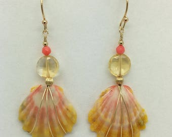 Sunrise Shell Earrings with Citrine & Pink Coral on Gold Fill