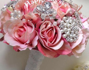 Vintage Brooch Bouquet, FREE groom corsage (2)