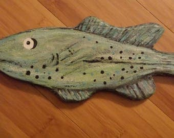 """FANCIFUL FISH 18"""" Painted Wooden FUN Wall Art * Unique Imaginary Colorful * Made by Kat in Florida"""