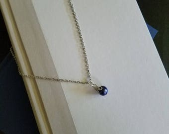 Silver Necklace with Purple Bead, Purple and Silver Necklace, Purple Bead Necklace, Silver Necklace