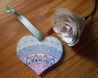 Purple Mandala Wooden Heart Ornament