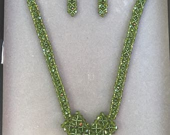 Emerald Green Swarvorzki Crystal Necklace and earring set