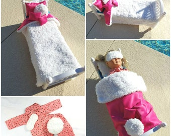 18 inch Doll Faux Fur Bedding and Pink Star Pajamas