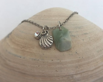 Seafoam Seaglass Charm Necklace