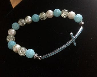 Blue & silver cross stretch bracelet